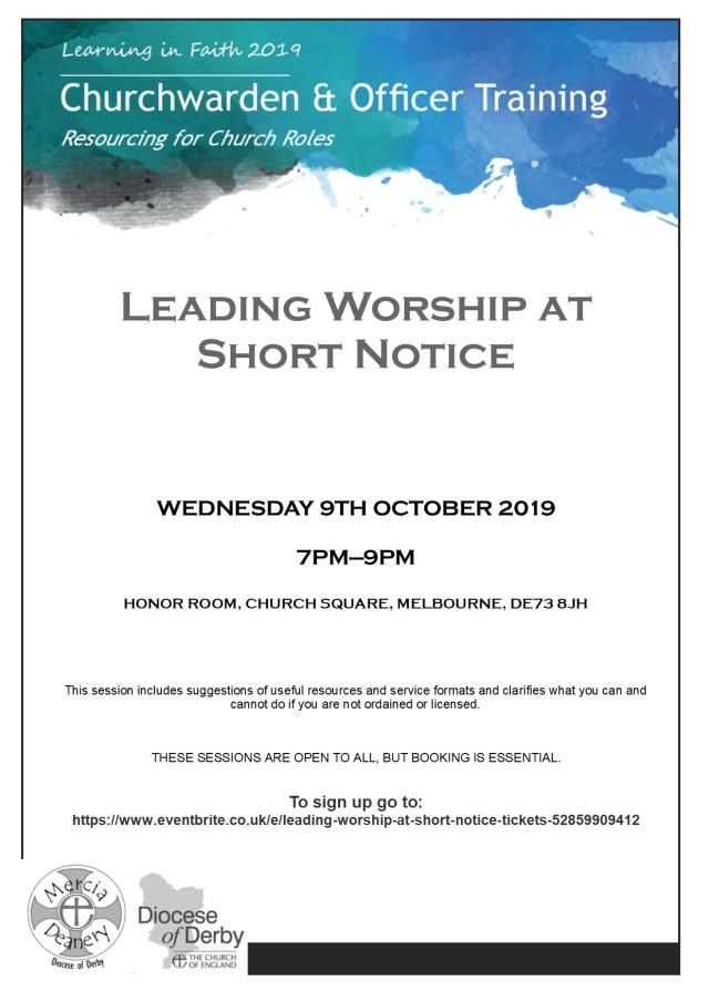 leading worship at short notice '19